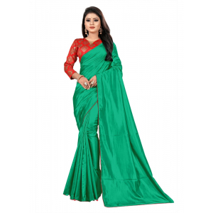 Generic Women's Paper Silk Saree wih Blouse (Green, 5-6mtrs)