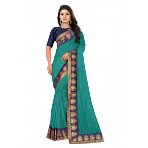 Generic Women's Paper Silk Saree wih Blouse (Sea Green, 5-6mtrs)