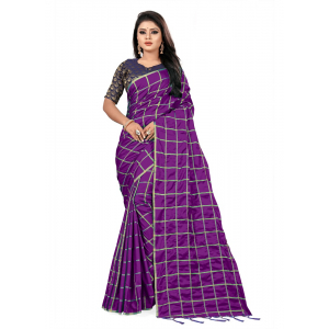 Generic Women's Paper Silk Saree wih Blouse (Dark Purple, 5-6mtrs)