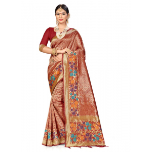 Generic Women's Banarasi Silk Saree (Red, 5-6mtrs)