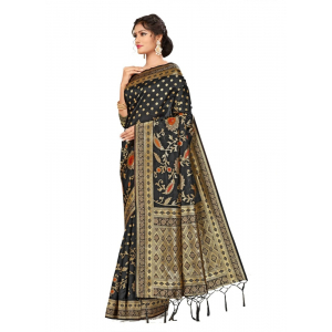 Generic Women's Banarasi Silk Saree (Black, 5-6mtrs)