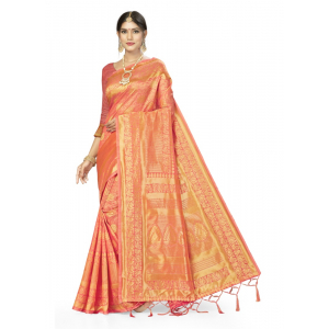 Generic Women's Banarasi Silk Saree (Peach, 5-6mtrs)