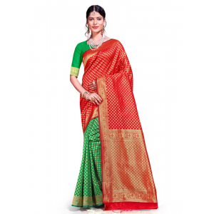 Generic Women's Banarasi Silk Saree (Multi, 5-6mtrs)