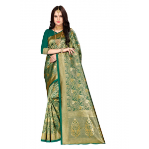 Generic Women's Banarasi Silk Saree (Green, 5-6mtrs)