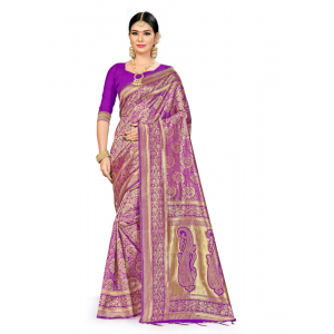 Generic Women's Banarasi Silk Saree (Purple, 5-6mtrs)