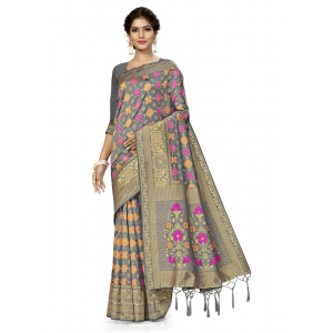 Generic Women's Banarasi Silk Saree (Grey, 5-6mtrs)