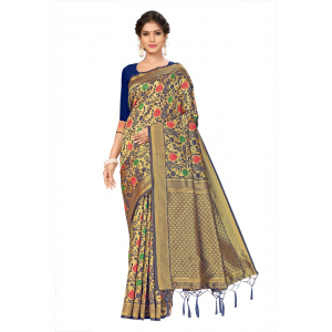 Generic Women's Banarasi Silk Saree (Navy blue, 5-6mtrs)