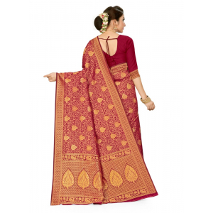 Generic Women's Banarasi Silk Saree (Wine, 5-6mtrs)