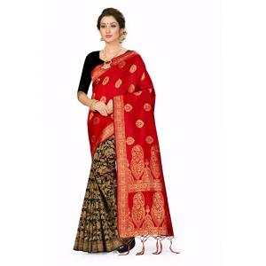 Generic Women's Banarasi Silk Saree (Red,black, 5-6mtrs)