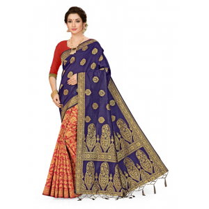 Generic Women's Banarasi Silk Saree (Navy blue,red, 5-6mtrs)