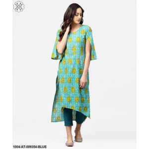 Blue Printed 3/4Th Sleeve Cotton Kurta