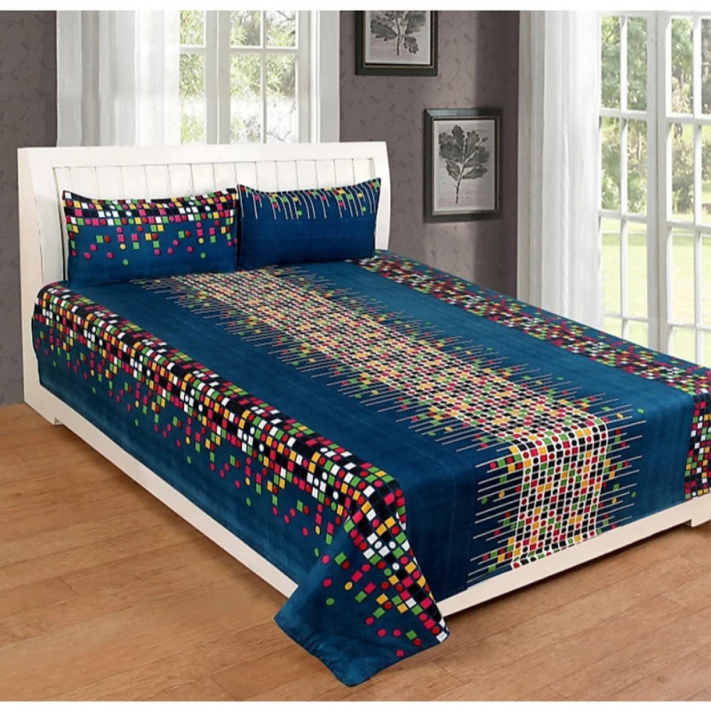 Heavy Glace polyester Super Soft Printed Bedsheet Set 1 Double bedsheet and 2 Pillow covers