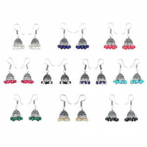 Multi-color Silver-Plated 10 Jhumki Combo Earrings For Women & Girl