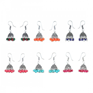 Multicolor Silver-Plated Combo Of 6 Jhumki Earrings For Women