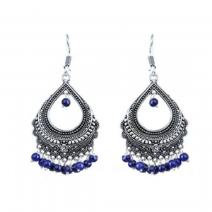Festival Special Jewellery Blue Pearl Chandelier Oxidised Jhumki Earring for Women Boho Jewellery
