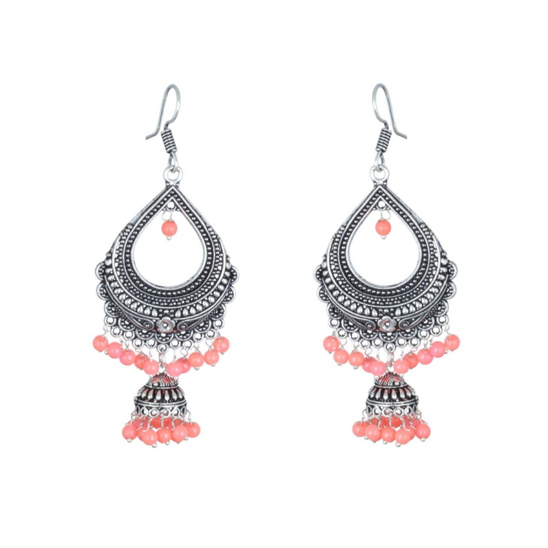 Traditional Silver Plated Chandelier Bali Earring For Women Jewellery