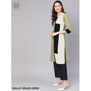 Solid Pista Green And Black Color Blocked 3/4Th Sleeve Rayon Kurta