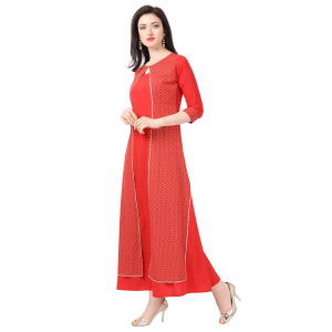 Generic Women's Crepe Printed Gown (Red)