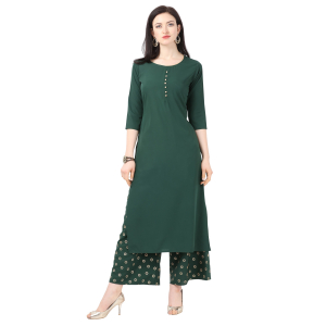 Generic Women's Crepe Printed Kurti With Plazzo (Green)