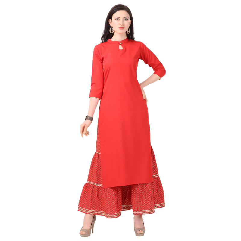 Generic Women's Crepe Printed Kurti With Sarara (Red)