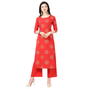 Generic Women's Crepe Printed Kurti With Plazzo (Red)