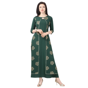 Generic Women's Crepe Printed Gown (Green)