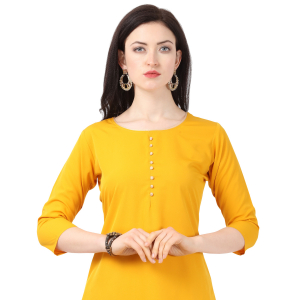 Generic Women's Crepe Printed Kurti With Plazzo (Yellow)