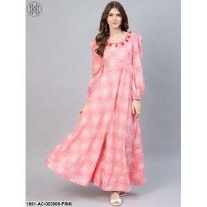 Pink Printed Maxi With Bishop Sleeves