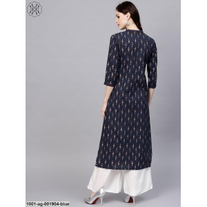 Blue Ikat Printed Straight Kurta
