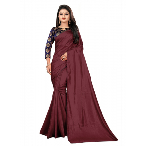 Generic Women's Paper Silk Saree With Jacquard Blouse Piece (Maroon, 5-6mtrs)