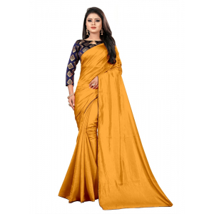 Generic Women's Paper Silk Saree With Jacquard Blouse Piece (Yellow, 5-6mtrs)