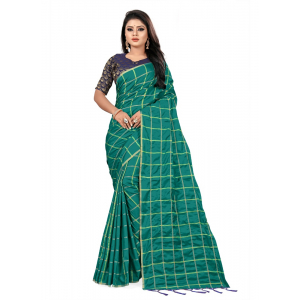 Generic Women's Checks Weaving Paper Silk Saree With Jacquard Blouse Piece (Sea Green, 5-6mtrs)