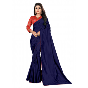 Generic Women's Paper Silk Saree With Jacquard Blouse Piece (Navy Blue, 5-6mtrs)