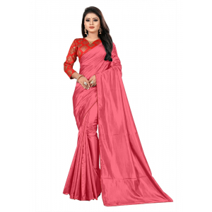 Generic Women's Paper Silk Saree With Jacquard Blouse Piece (Peach Orange, 5-6mtrs)