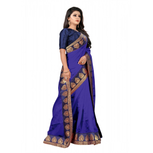 Generic Women's Jacquard Lace Border Paper Silk Saree With Blouse Piece (Royal Blue, 5-6mtrs)