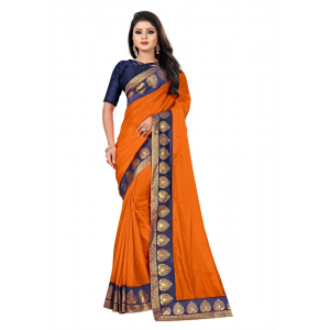 Generic Women's Jacquard Lace Border Paper Silk Saree With Blouse Piece (Orange, 5-6mtrs)
