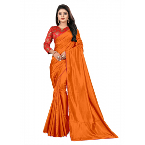 Generic Women's Paper Silk Saree With Jacquard Blouse Piece (Orange, 5-6mtrs)