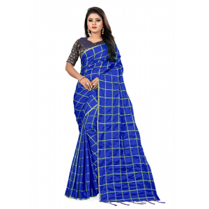 Generic Women's Checks Weaving Paper Silk Saree With Jacquard Blouse Piece (Royal Blue, 5-6mtrs)