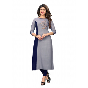 Generic Women's Rayon Embroidered Kurti (Grey)