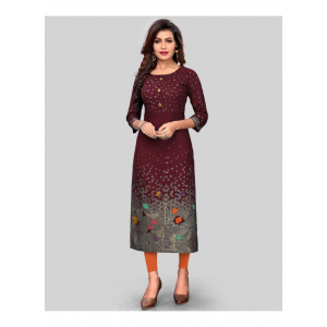 Generic Women's Rayon Printed Kurti (Dark Marron)