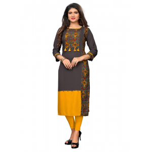 Generic Women's Rayon Printed and Hand Work Kurti (Multi Color)