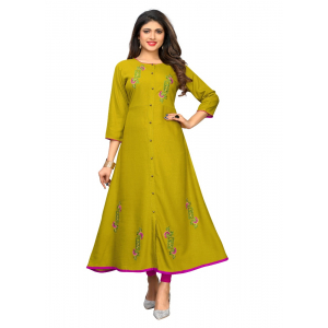 Generic Women's Slub Cotton Embroidery Work Kurti (Mehndi Green)