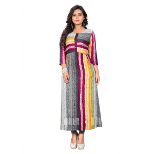 Generic Women's Rayon Print Kurti (Multi Color)