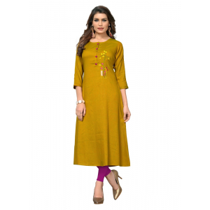 Generic Women's 2 Tone Rayon Embroidered Kurti (Mustard Yellow)