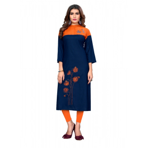 Generic Women's Rayon Embroidered and Solid Kurti (Blue And Orange)