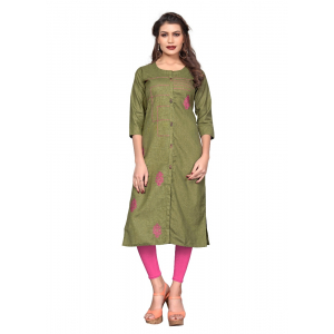 Generic Women's Flex Cotton Solid and Embroidred Kurti (Mahendi Green)