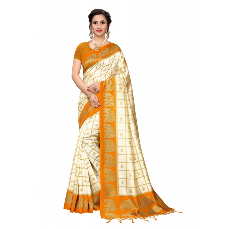 Generic Women's Art Silk Saree with Blouse (Yellow, 5-6 Mtrs)