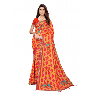 Generic Women's Georgette Saree with Blouse (ORANGE, 5-6 Mtrs)
