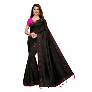 Generic Women's Sana Silk Saree with Blouse (Black, 5-6 Mtrs)