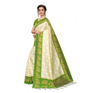 Generic Women's Art Silk Saree with Blouse (Mehandi, 5-6 Mtrs)